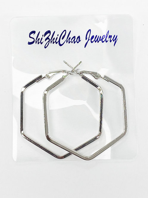 42 x 40 x 40mm Silver Hexagon Shape Earring For Beading Around, 2mm Thickness