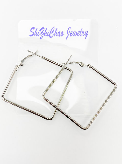 68mm x 68mm Silver Square Earring For Beading Around, 2mm Thickness