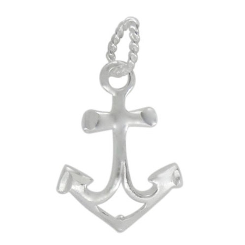 925 Smooth Anchor Charm With 7mm x 5mm Loop