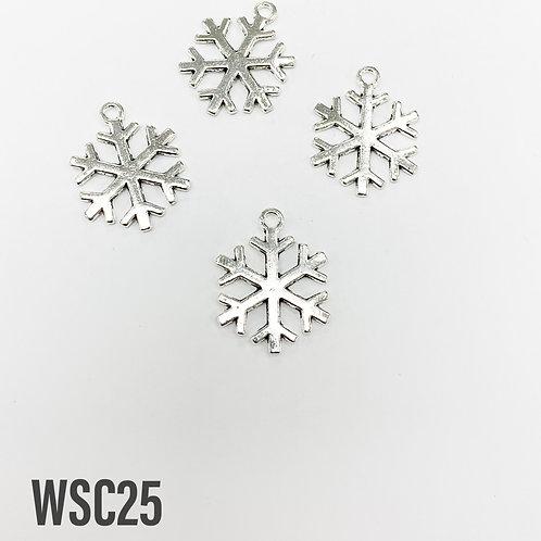 23mm L x 2mm T Rhodium Simple Snowflake Charm