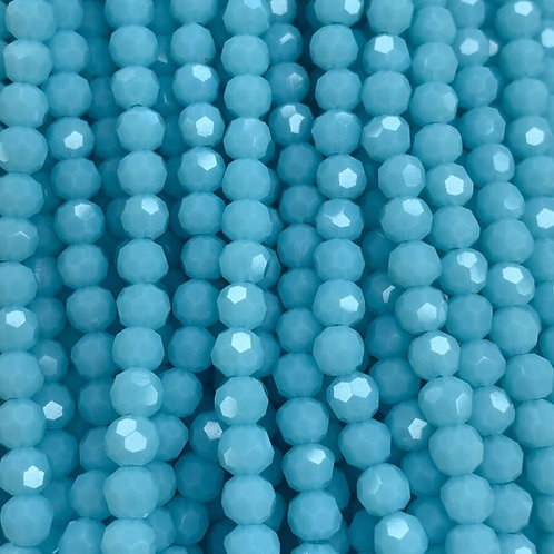 Light Blue Large Facetted Round Glass Beads 8mm
