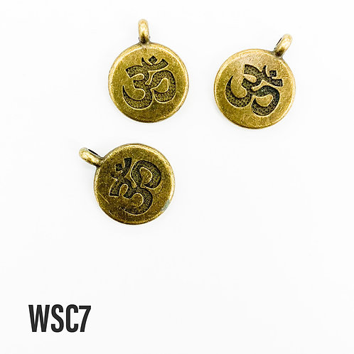 19mm L x 4mm T Antique Brass Ohm Disc Charm