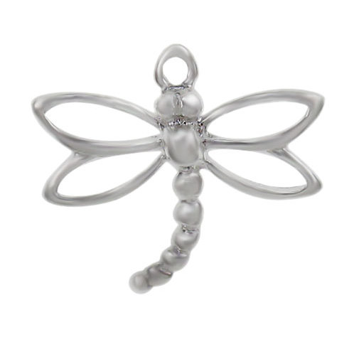 925 Smooth Dragonfly Shape Charm With A Round Loop