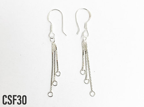 925 Earring Hook With 3 Lengths Of Chain And 1mm Loop Ends Sold In Pairs