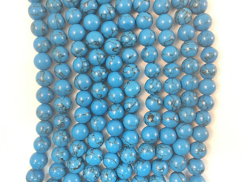 Dyed Blue Sea Bamboo Coral Beads 6mm