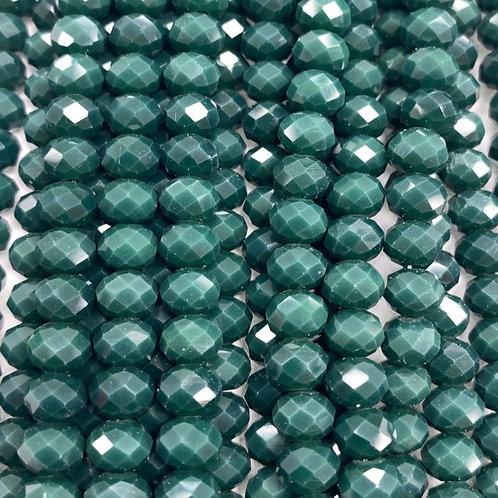 Green Facetted Rondell Glass Beads 6mm