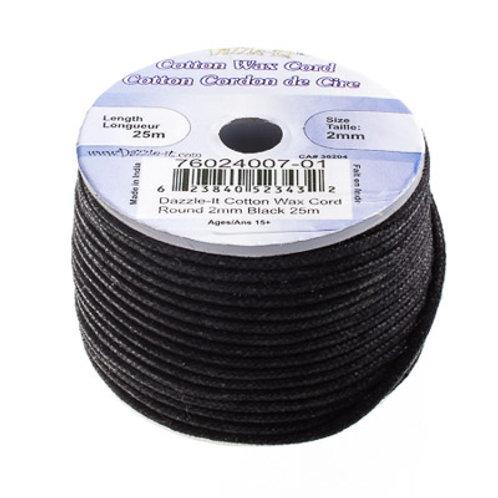 Cotton Wax Cord 2mm Black 25m