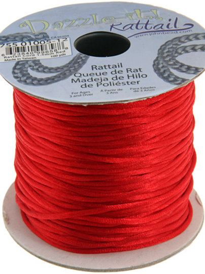 Rattail Cord 1.5mm Red 100yds