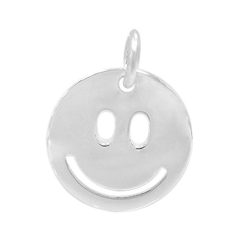 925 Smooth Happy Face Charm 12mm