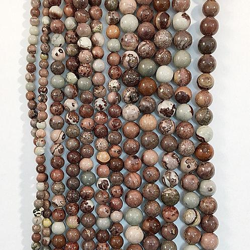 Natural Red Arctic Jasper Beads 8mm
