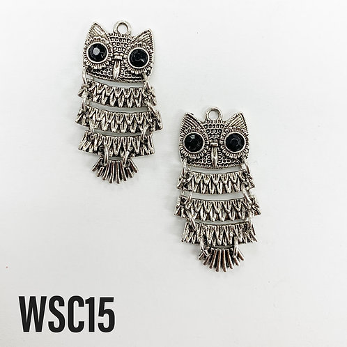 37mm L x 4mm T Rhodium Dangle Owl Charm