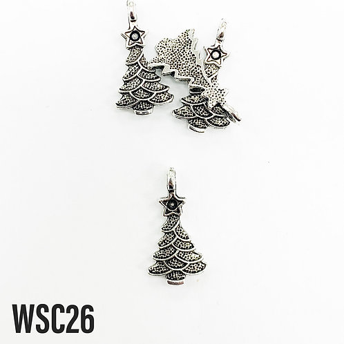 21mm L x 4mm T Rhodium Christmas Tree Charm