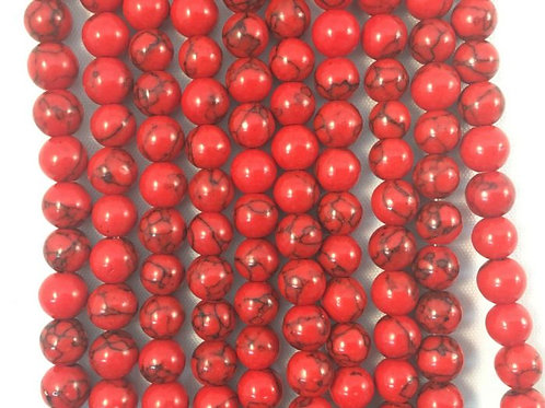 Dyed Red Sea Bamboo Coral Beads 8mm