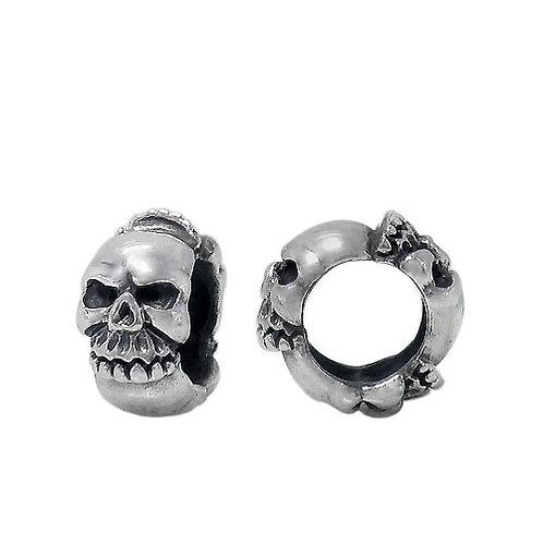 925 Oxidize Finish Skull Head With 6mm Hole