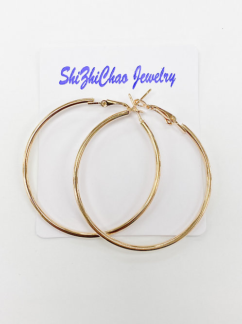 60mm Gold Hoops For Beading Around, 2mm Thickness