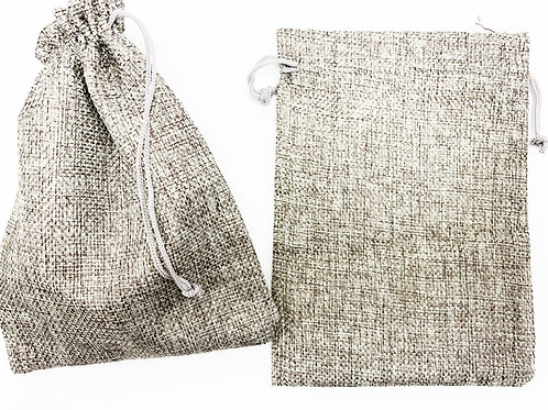 Burlap Gift Bags Grey 12cmx15cm, 2pc