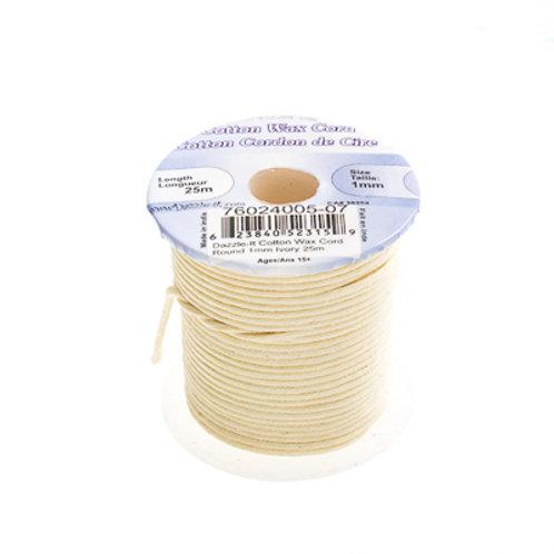 Cotton Wax Cord 1mm Ivory 25m