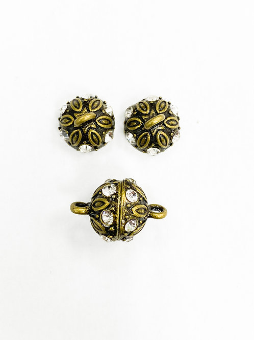 17mm Antique Brass Magnetic ball Clasp
