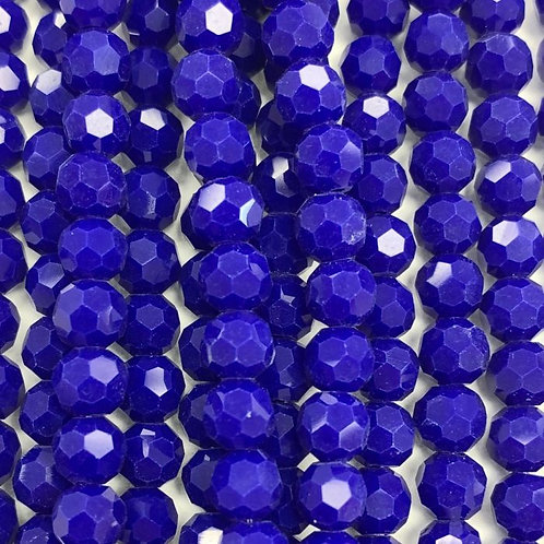 Dark Blue Large Facetted Round Glass Beads 8mm