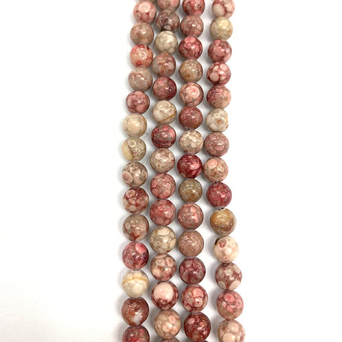 Natural Pink Sea Lilly Jasper Beads 6mm