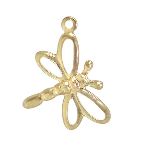 14KGF Dragonfly Charm With 2mm Loop