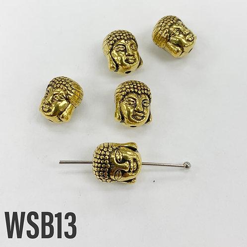 9mm L x 8mm T x 11mm W Gold Buddha Head Spacer