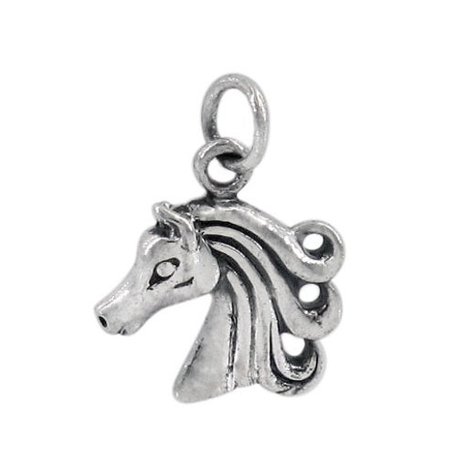 925 Horse Head Charm, 13x13mm Frame With 5mm Jump Ring