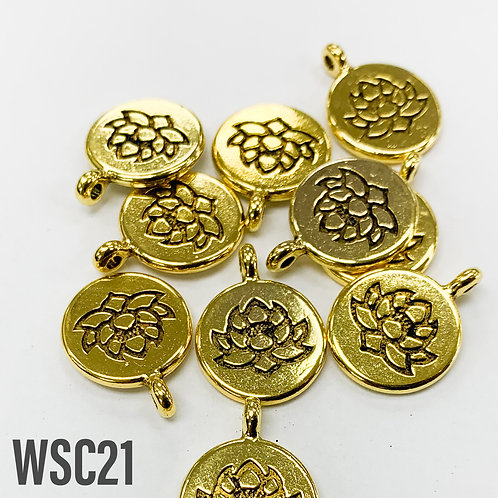 20mm L x 4mm T Gold Lotus Disc Charm
