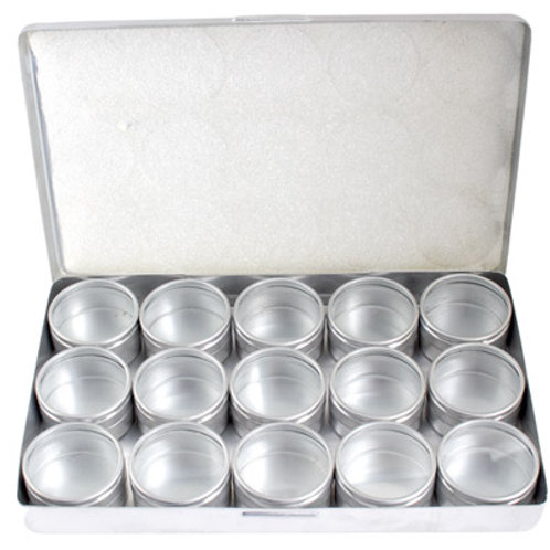 ALUMINIUM BOX W/15 PCS CONTAINERS 36mm W/CLEAR LID
