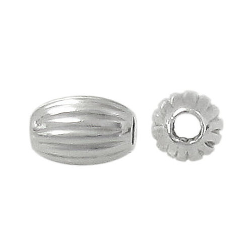 925 Corrugated Oval Bead With 1.3mm Hole