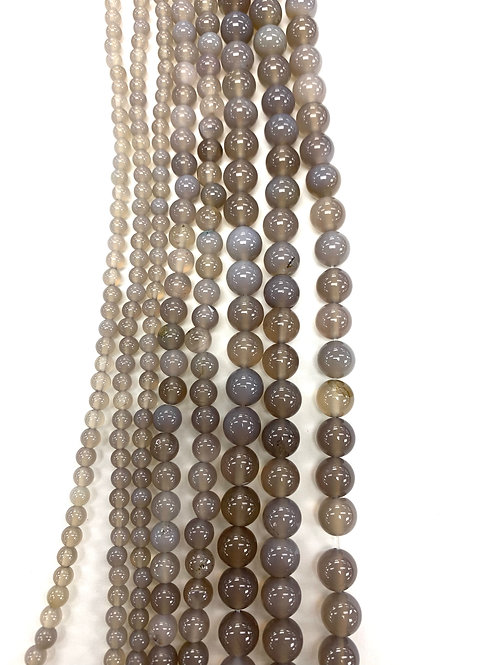 Natural Grey Agate Beads 6mm