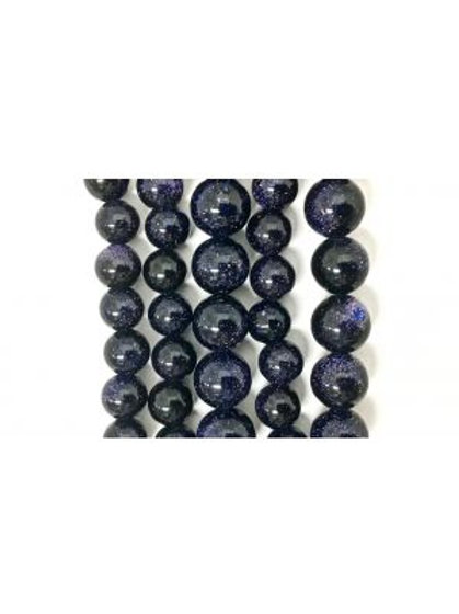 Blue Gold Stone Beads (Man-Made) 8mm