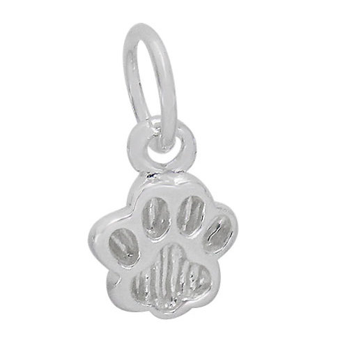 925 Smooth Dog Paw Cham With 7mm Loop