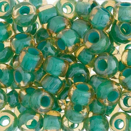 Czech Seed Beads  2/0 TOPAZ/GREEN LINED