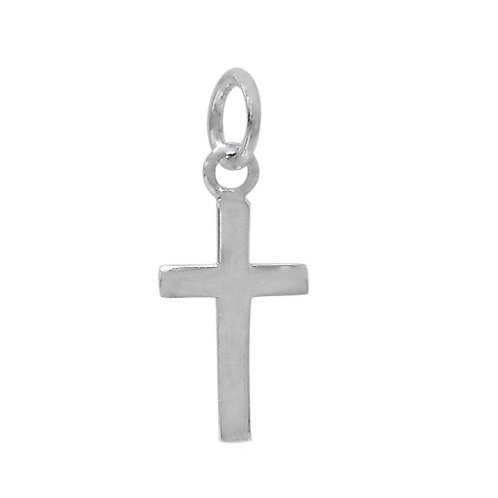 925 Flat Cross Charm With 5mm Loop