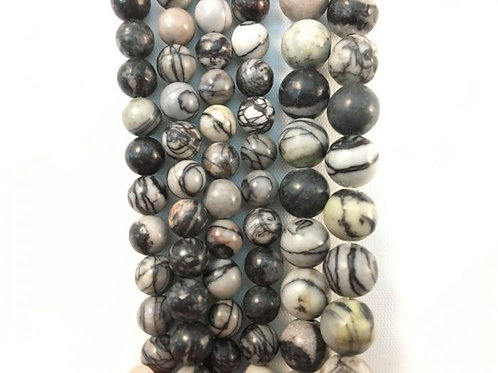Natural Black Zebra Jasper 8mm