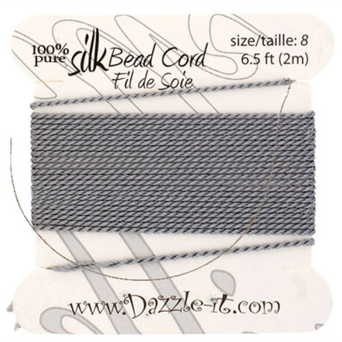 Silk Bead Cord w/Needle (0.80mm) Grey
