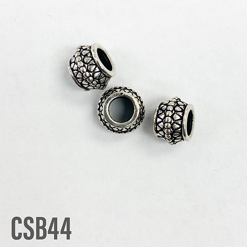 925 Oxidize Finish Roundel Detail Bead