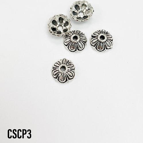 925 Oxidized Flower Bead Cap
