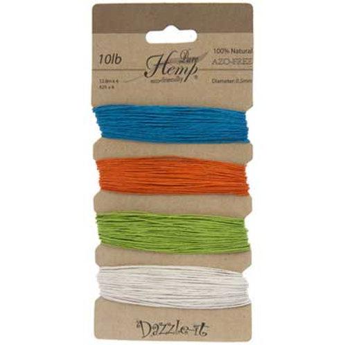 Hemp 100% 0.5mm 10lb Bright Colours
