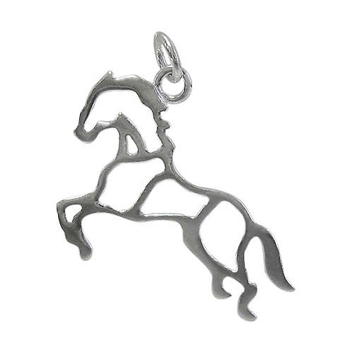 925 Flat Horse Charm With 4mm Loop