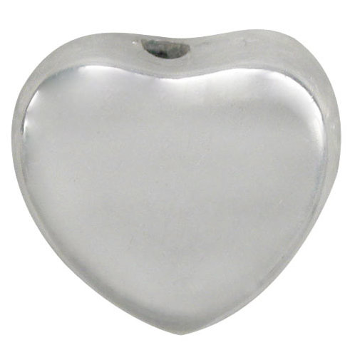 925 Smooth, Flat Heart Shape Bead With Top To Bottom Drill