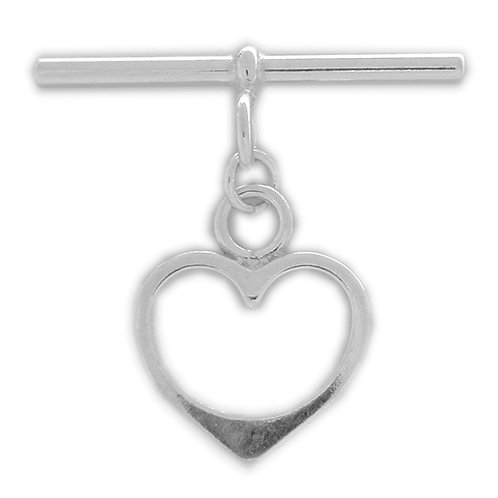925 Smooth Heart Shaped Toggle Large 16mm