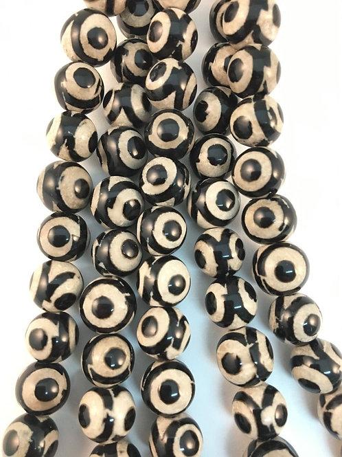 Tibetan Agate White Black Eye Beads 8mm
