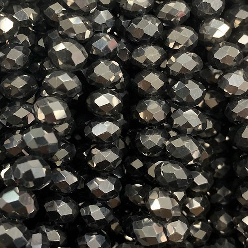 Gun-Metal Facetted Rondell Glass Beads 4mm