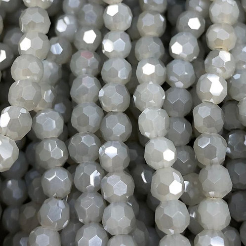 Grey Luster Large Facetted Glass Round Beads 8mm