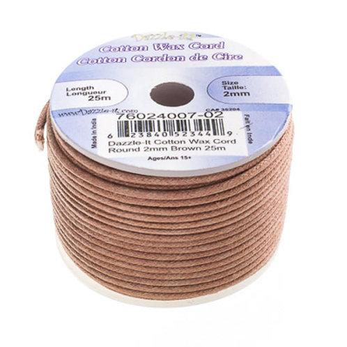Cotton Wax Cord 2mm Brown 25m