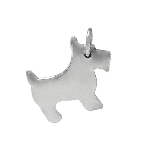 925 Flat Dog Charm With 5mm Loop