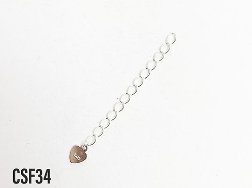 925 46mm Chain Extender With 5mm Heart