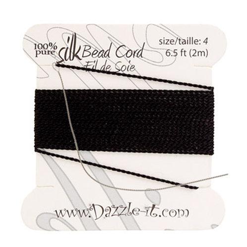 Silk Bead Cord w/Needle (0.60mm) Black